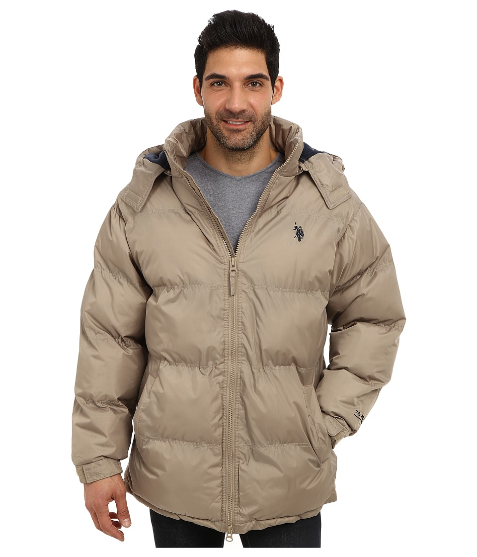 U.S. POLO ASSN. - Signature Long Bubble Coat w/ Small Pony Polar Fleece Lining (Thomston Khaki) Men's Coat