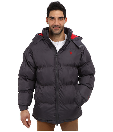 U.S. POLO ASSN. - Signature Long Bubble Coat w/ Small Pony Polar Fleece Lining (Castlerock) Men