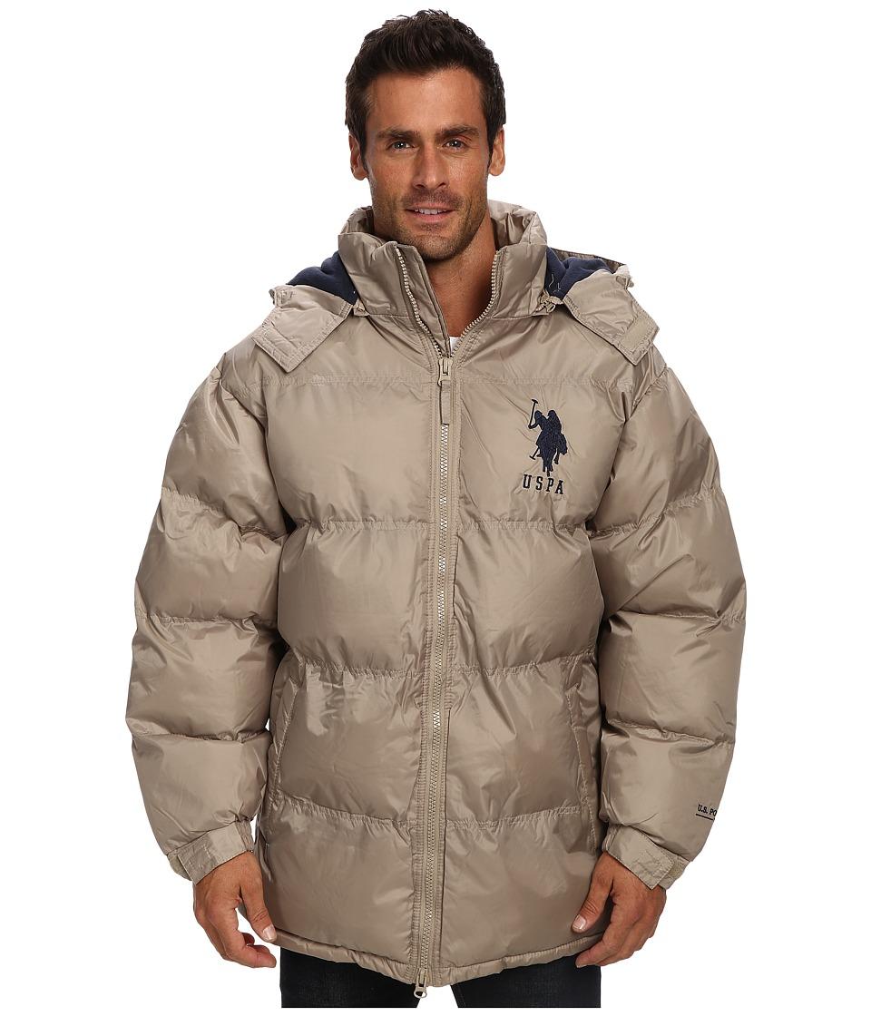 U.S. POLO ASSN. - Signature Long Bubble Coat w/ Large Pony Polar Fleece Lining (Thomston Khaki) Men's Coat