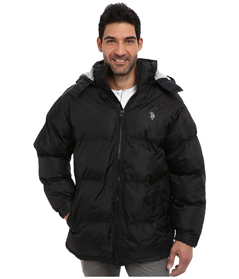U.S. POLO ASSN. - Signature Long Bubble Coat w/ Small Pony Polar Fleece Lining (Black) Men's Coat