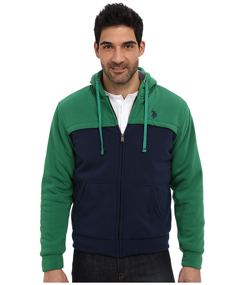 U.S. POLO ASSN. - Sherpa Lined Color Block Full Zip Hoodie (Hiking Green) Men's Sweatshirt