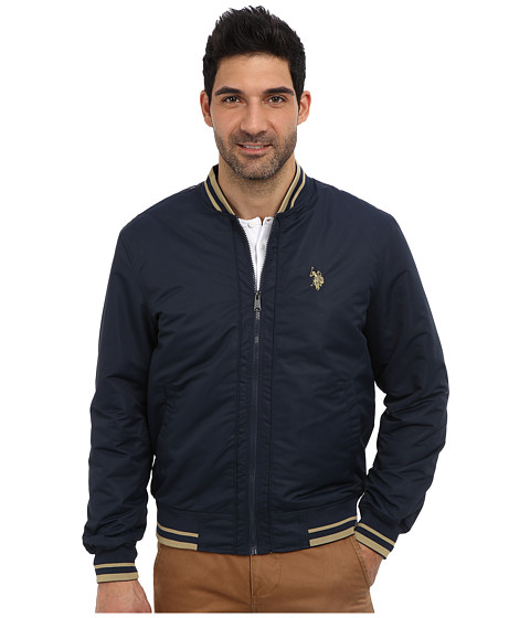 U.S. POLO ASSN. - Polyfill Baseball Jacket (Classic Navy) Men's Coat