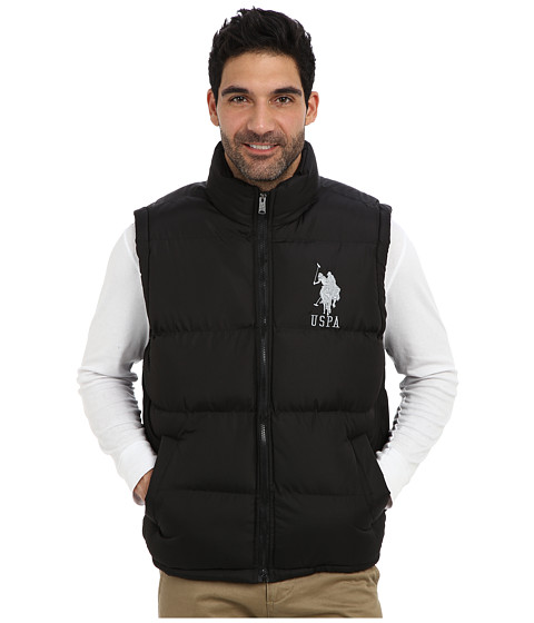 U.S. POLO ASSN. - Basic Puffer Vest w/ Large Pony (Black) Men's Vest
