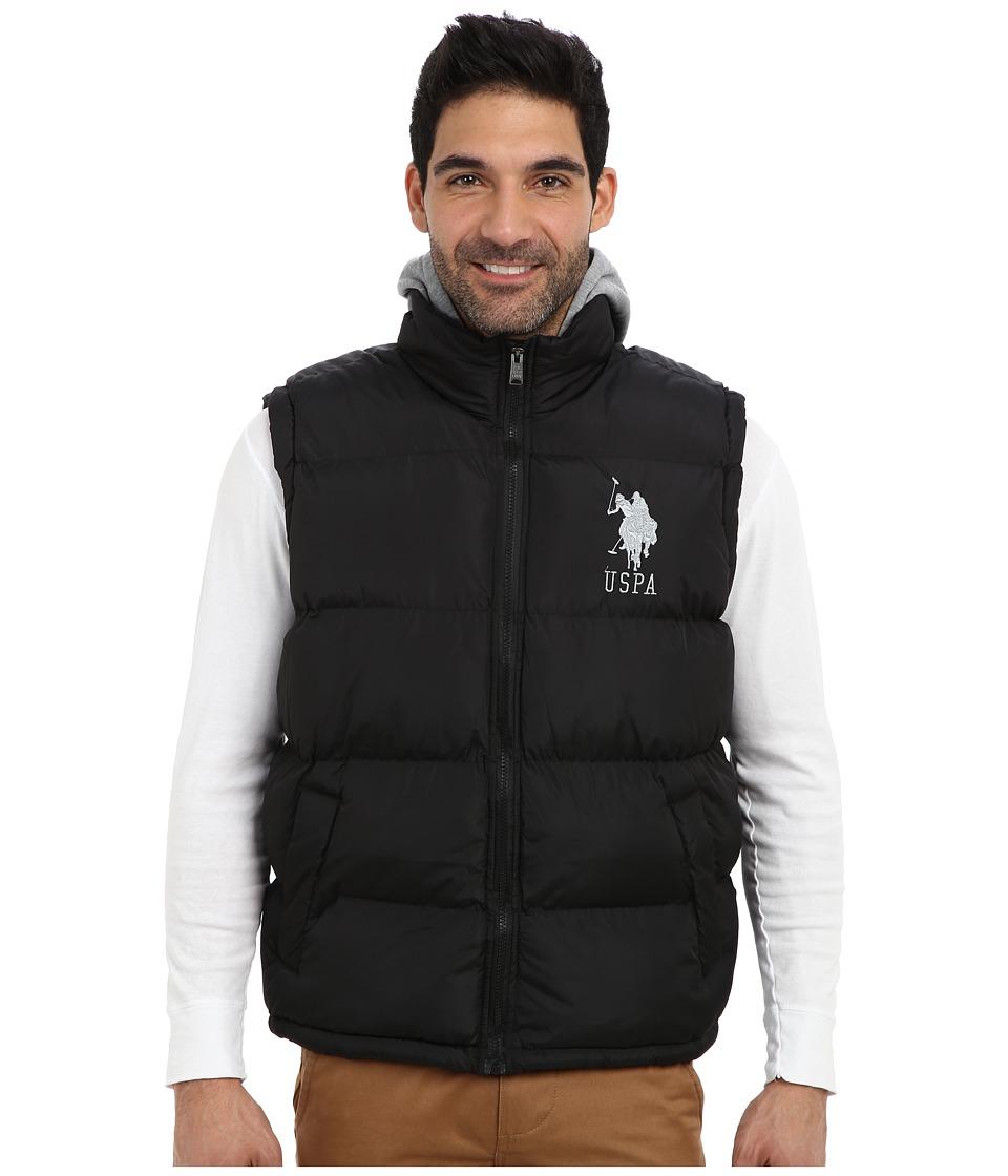U.S. POLO ASSN. - Basic Puffer Vest w/ Fleece Hood (Black) Men's Vest