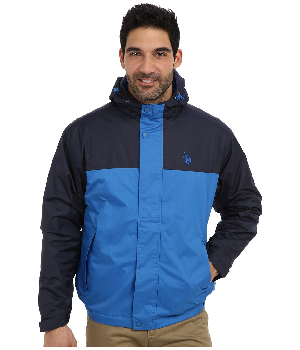 U.S. POLO ASSN. - Color Block Coat w/ Fleece Lining (Park Blue) Men's Coat