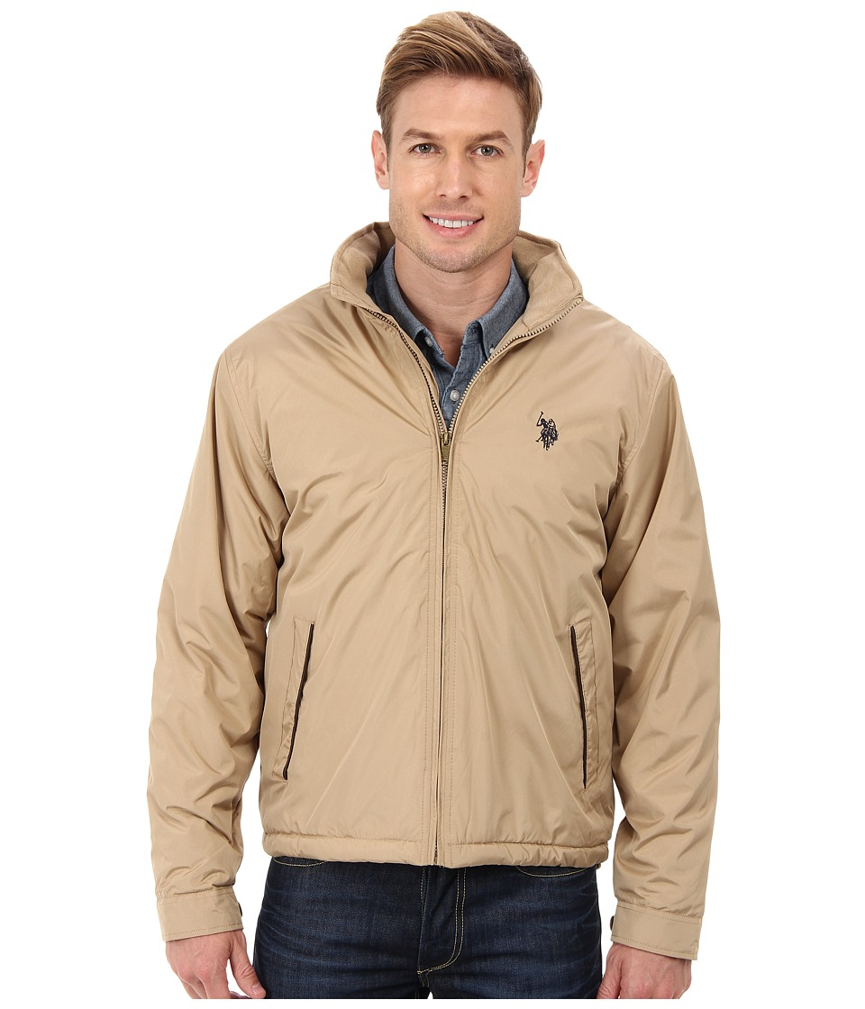 U.S. POLO ASSN. - Fleece Lined PU Piped Jacket (Desert Khaki) Men's Jacket