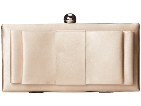 Jessica McClintock - Satin Bow Minaudiere (Champagne) Handbags