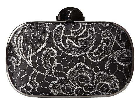 Jessica McClintock - Metallic Lace Minaudiere (Black/Pewter) Clutch Handbags
