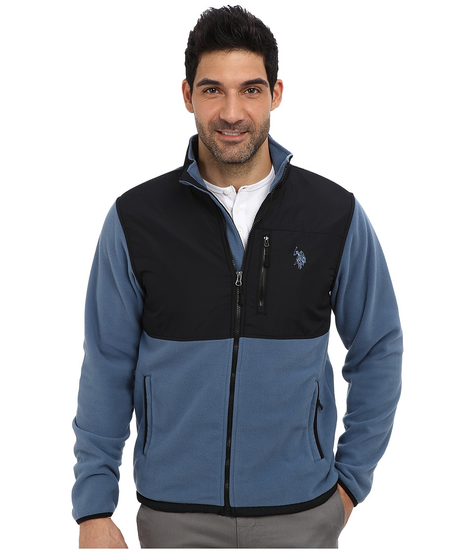 U.S. POLO ASSN. - Full Zip Polar Fleece Jacket (Blue Slate) Men's Sweatshirt