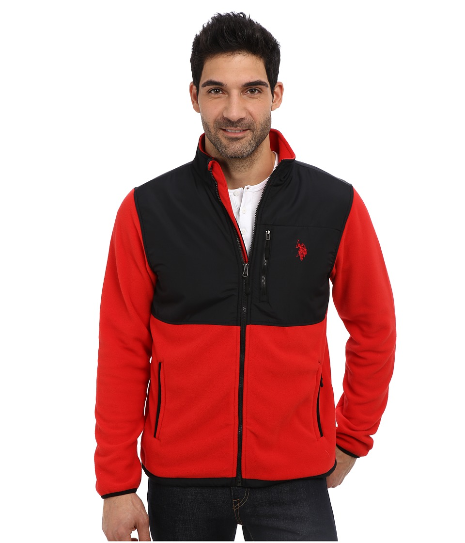 U.S. POLO ASSN. - Full Zip Polar Fleece Jacket (Engine Red) Men's Sweatshirt