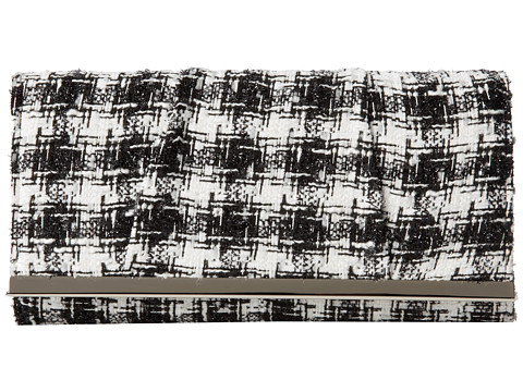 Jessica McClintock - Tweed Bar Clutch (Black/White) Clutch Handbags