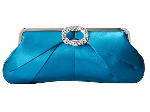 Jessica McClintock - Vintage Frame Satin Clutch (Peacock) Clutch Handbags