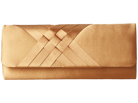 Jessica McClintock - Criss Cross Flap Clutch (Bronze) Clutch Handbags