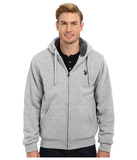 U.S. POLO ASSN. - Sherpa Lined Full Zip Fleece Hoodie (Heather Gray) Men