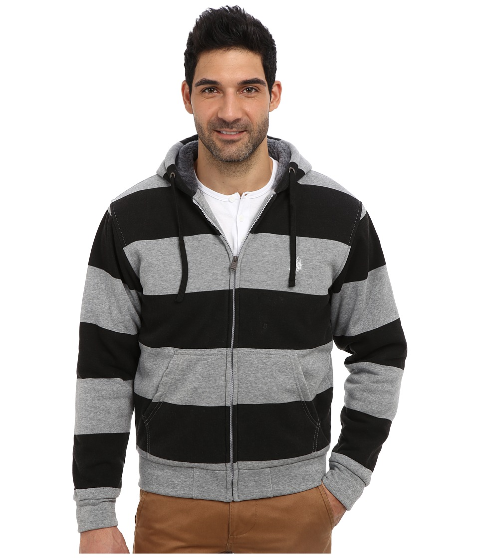 U.S. POLO ASSN. - Sherpa Lined Rugby Stripe Full Zip Hoodie (Black) Men's Sweatshirt