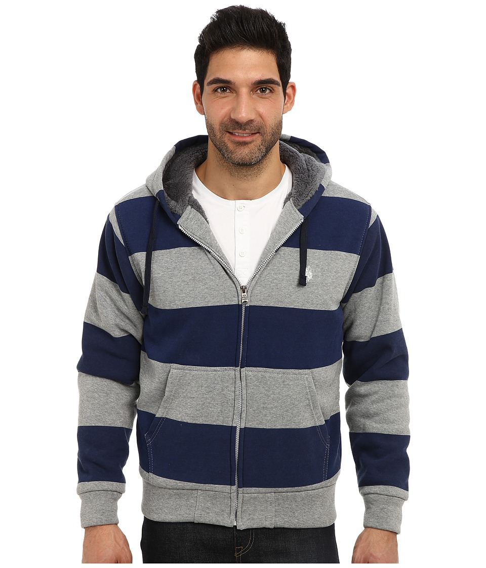 U.S. POLO ASSN. - Sherpa Lined Rugby Stripe Full Zip Hoodie (Classic Navy) Men