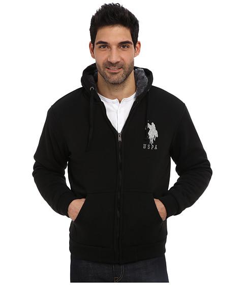 U.S. POLO ASSN. - Sherpa Lined Full Zip Fleece Hoodie w/ Big Pony (Black) Men's Coat