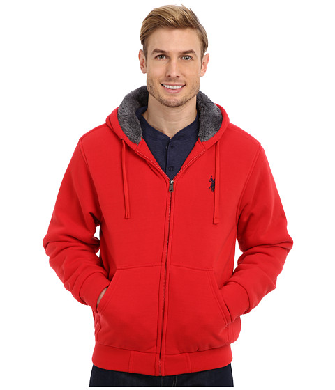 U.S. POLO ASSN. - Sherpa Lined Full Zip Fleece Hoodie (Engine Red) Men