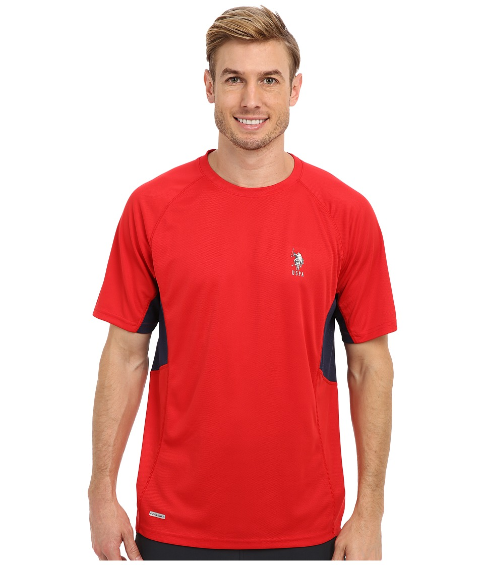 U.S. POLO ASSN. - Raglan Performance T-Shirt (Engine Red) Men's Short Sleeve Pullover
