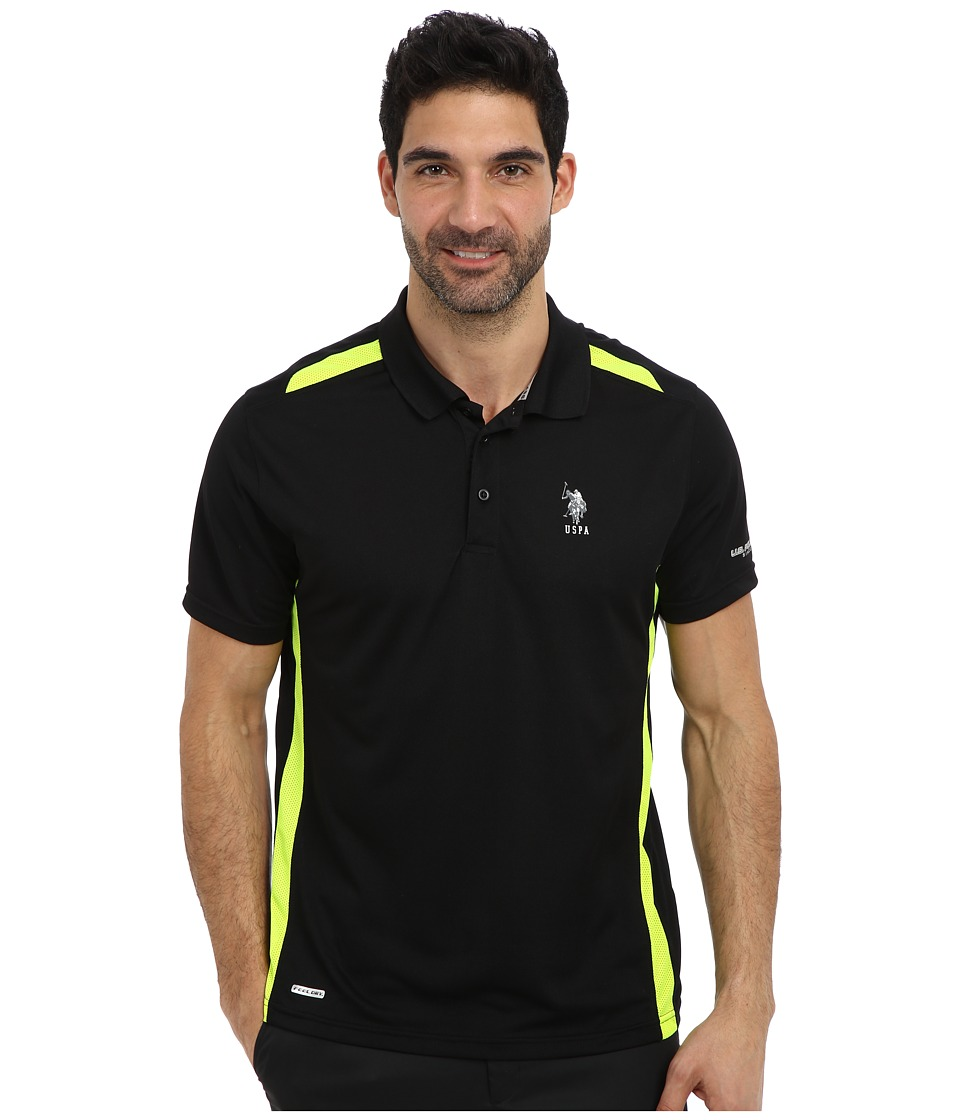 U.S. POLO ASSN. - Vented Panel Performance Polo (Black) Men's Short Sleeve Pullover