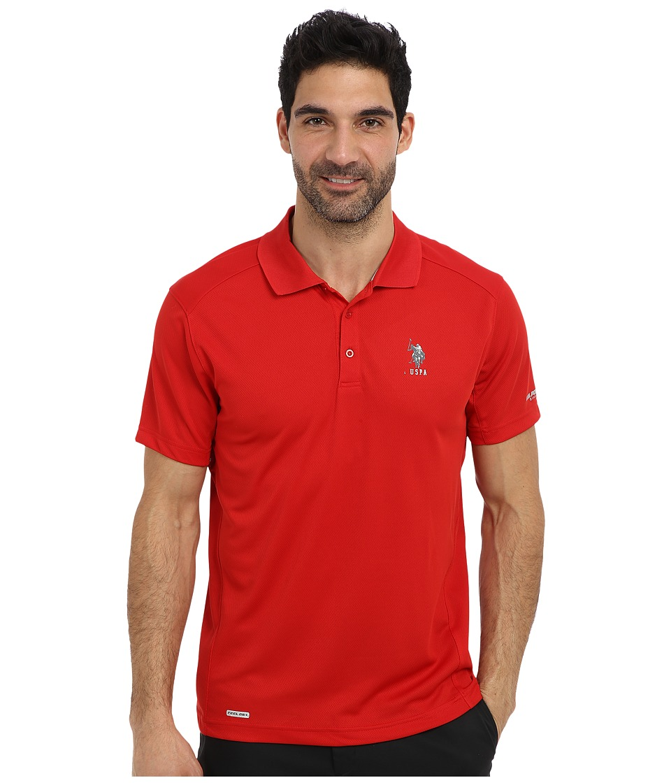 U.S. POLO ASSN. - Cage Mesh Vented Peformance Polo (Engine Red) Men's Short Sleeve Pullover