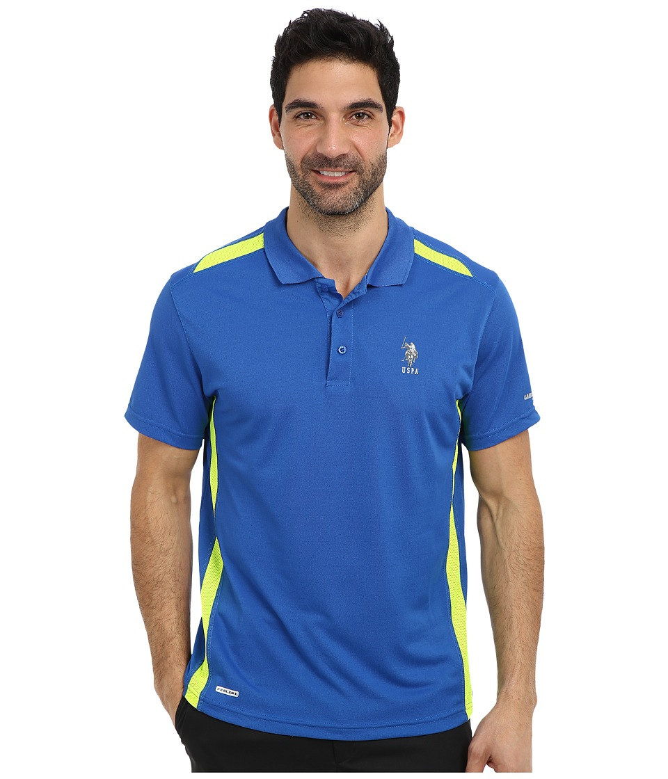 U.S. POLO ASSN. - Vented Panel Performance Polo (China Blue) Men's Short Sleeve Pullover