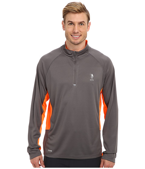 U.S. POLO ASSN. - Mesh 1/4 Zip Performance Top (Castlerock) Men's Long Sleeve Pullover