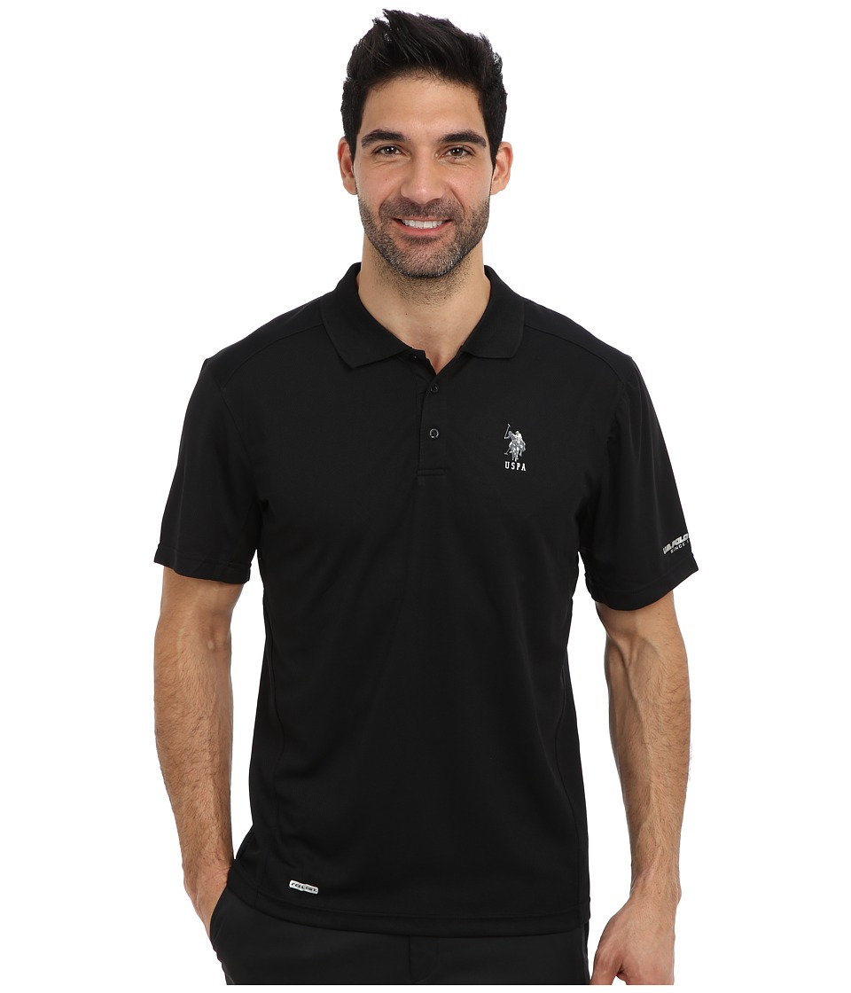 U.S. POLO ASSN. - Cage Mesh Vented Peformance Polo (Black) Men's Short Sleeve Pullover