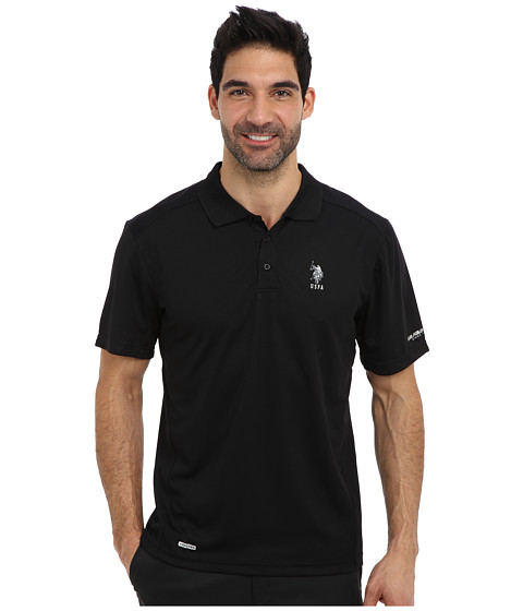 U.S. POLO ASSN. - Cage Mesh Vented Peformance Polo (Black) Men