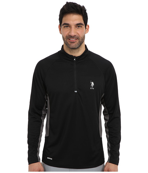 U.S. POLO ASSN. - Mesh 1/4 Zip Performance Top (Black) Men's Long Sleeve Pullover