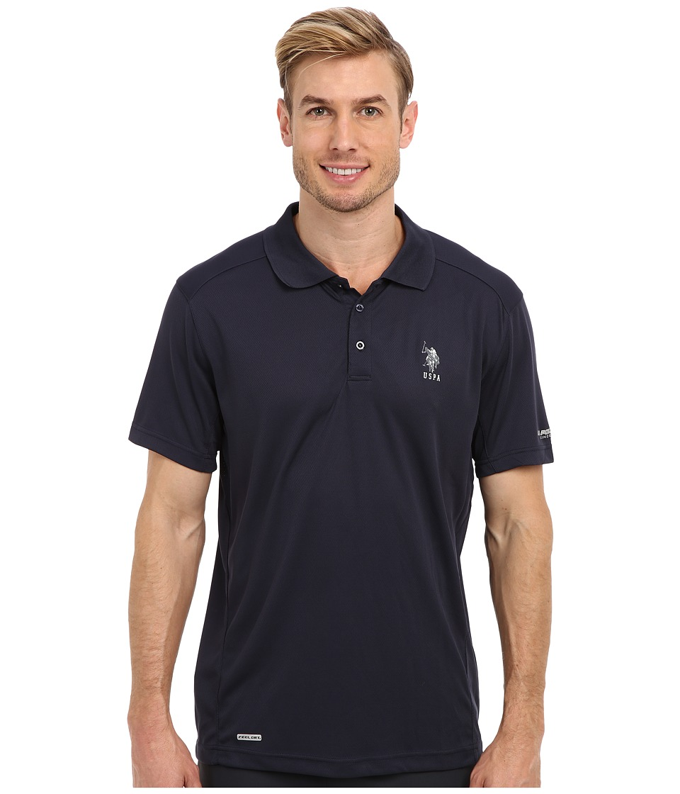 U.S. POLO ASSN. - Cage Mesh Vented Peformance Polo (Classic Navy) Men's Short Sleeve Pullover