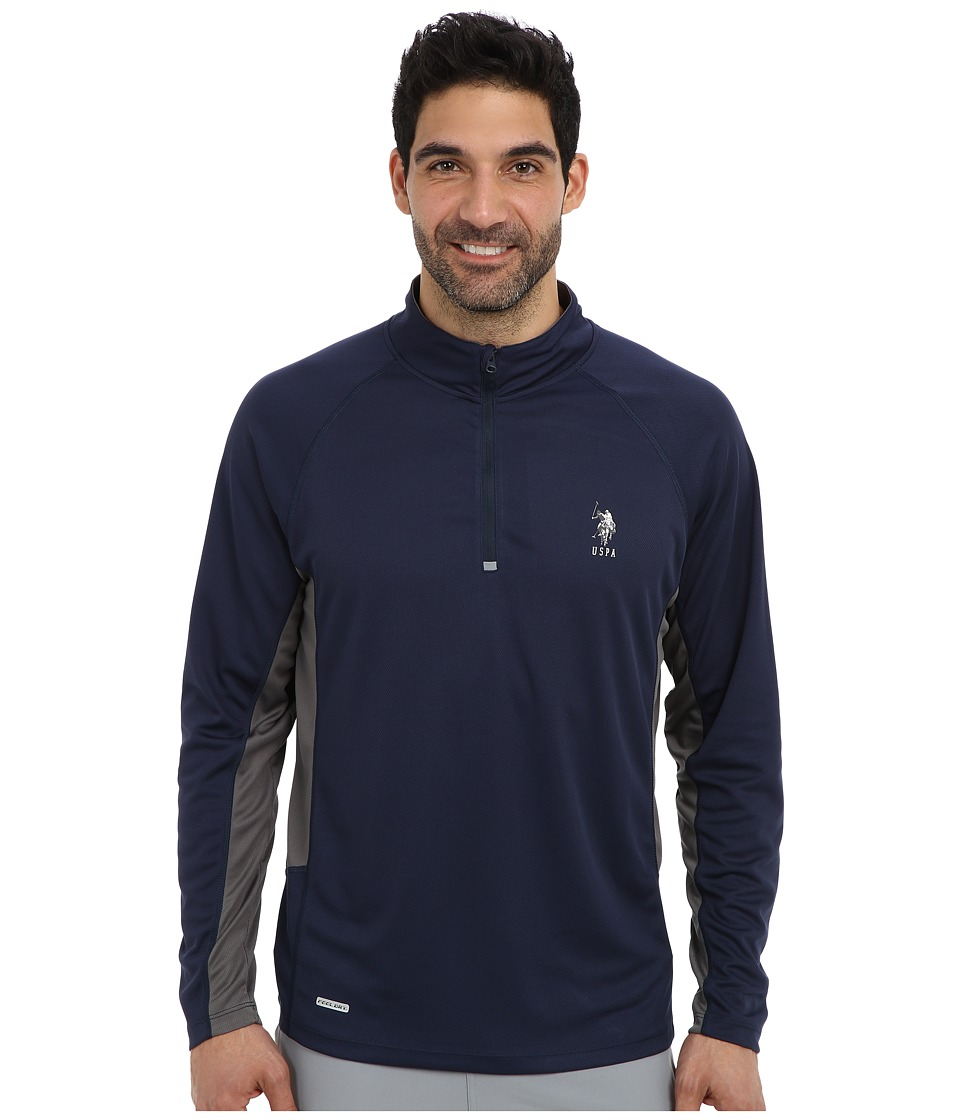 U.S. POLO ASSN. - Mesh 1/4 Zip Performance Top (Classic Navy) Men