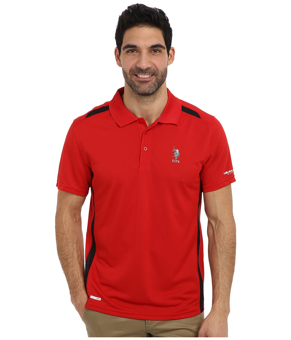 U.S. POLO ASSN. - Vented Panel Performance Polo (Engine Red) Men's Short Sleeve Pullover