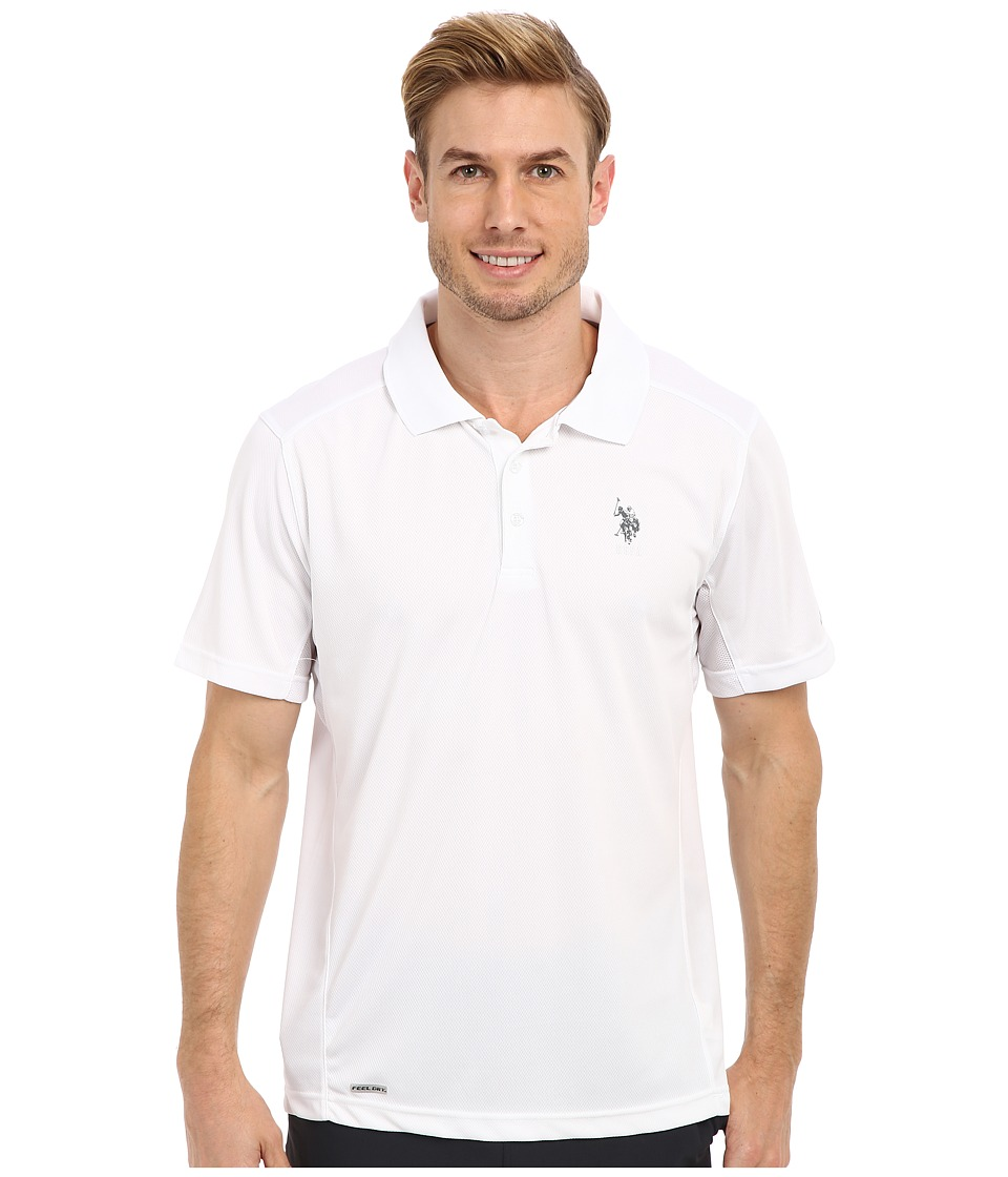 U.S. POLO ASSN. - Cage Mesh Vented Peformance Polo (White) Men's Short Sleeve Pullover