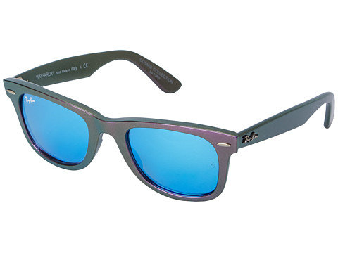 Ray-Ban - RB2140 Iridescent Colored Wayfarer 50mm (Saturn Metallic Violet/Grey Mirror Blue) Fashion Sunglasses