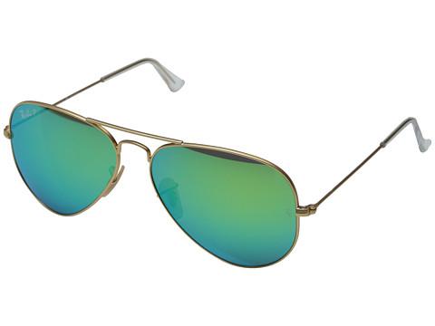 Ray-Ban RB3025 Aviator Polarized Flash Lenses 58mm (Matte Gold/Green Mirror Polar) Polarized Fashion Sunglasses