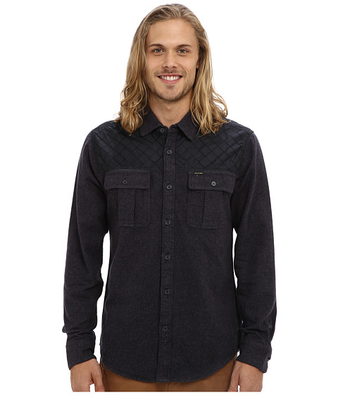 Volcom - Treehouse L/S (Black) Men's Long Sleeve Button Up