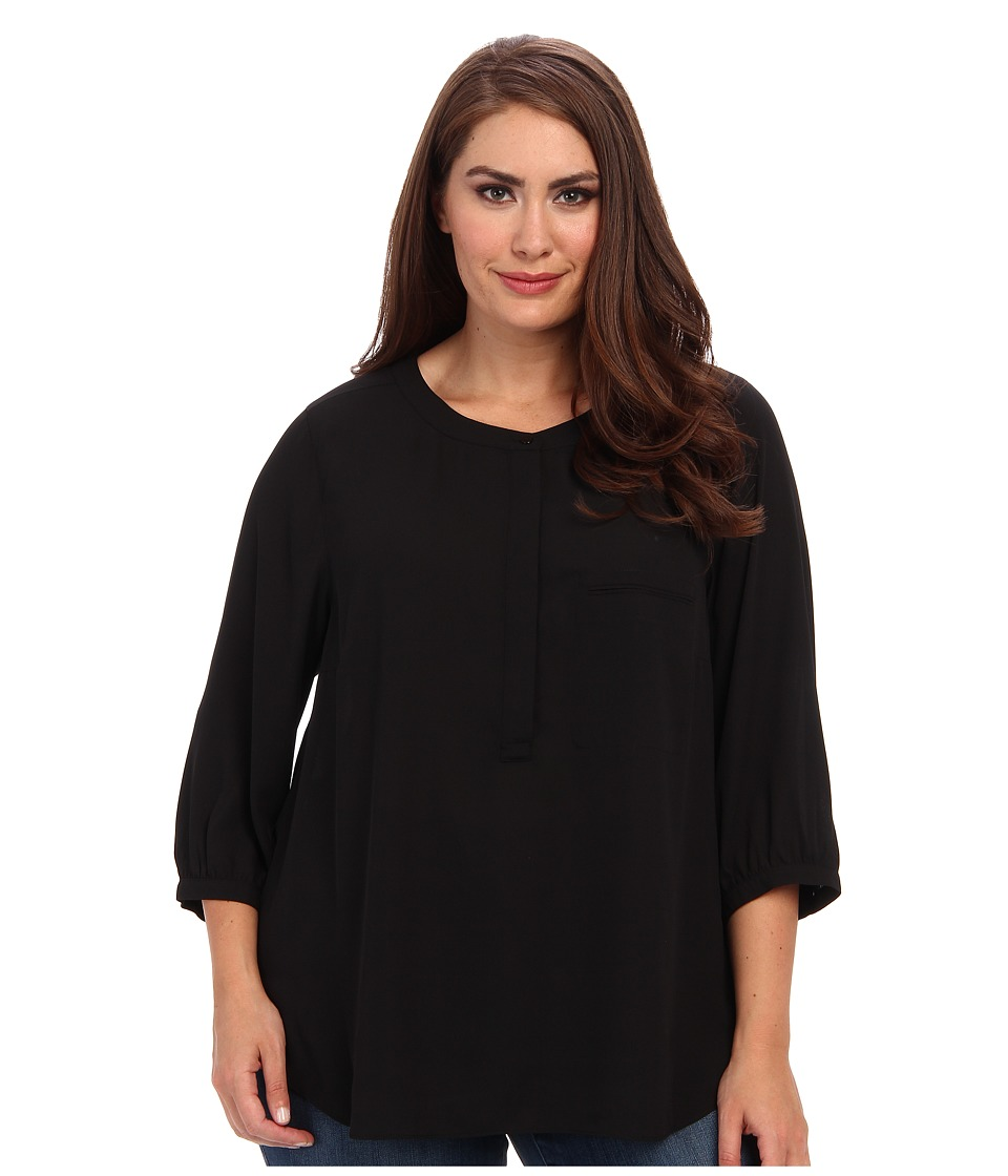 NYDJ Plus Size - Plus Size Georgette Blouse (Black) Women's Blouse