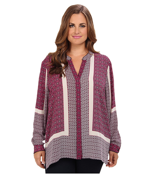 NYDJ Plus Size - Plus Size Scarf Print Button Front Blouse (Boysenberry) Women