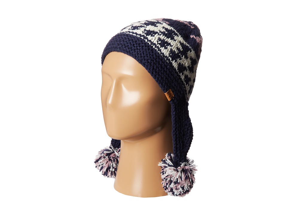 Roxy - Campfire Knit Ear Flap Beanie (Peacoat) Knit Hats