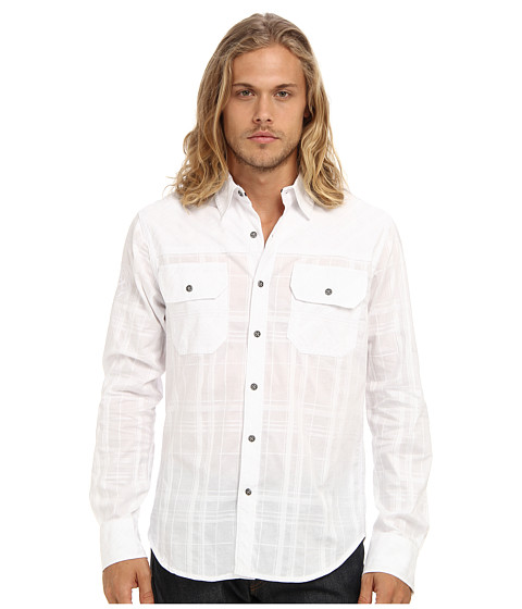 Affliction - Fever Night L/S Woven Shirt (White Plaid) Men
