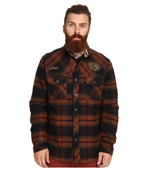 Affliction - Underground Stage Shirt Jacket (Burnt Orange Plaid) Men's Coat