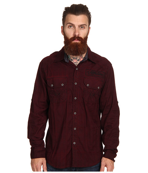 Affliction - Indian Head L/S Woven Shirt (Burgundy) Men's Long Sleeve Button Up
