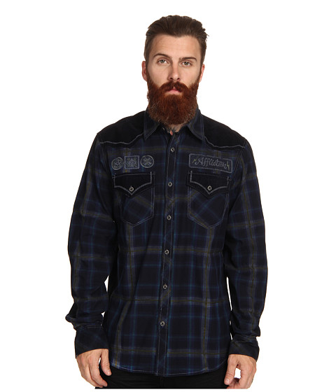 Affliction - Reflex L/S Woven Shirt (Navy Tint Wash) Men