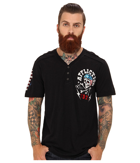 Affliction Devils Canyon Short Sleeve Graphic Fashion Henley T-Shirt