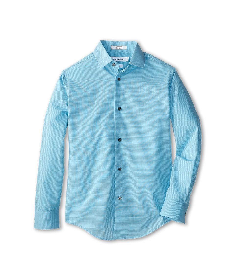 Calvin Klein Kids - L/S End On End Shirt (Big Kids) (Medium Teal) Boy's Long Sleeve Button Up