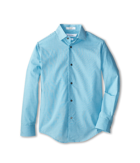 Calvin Klein Kids - L/S End On End Shirt (Big Kids) (Medium Teal) Boy