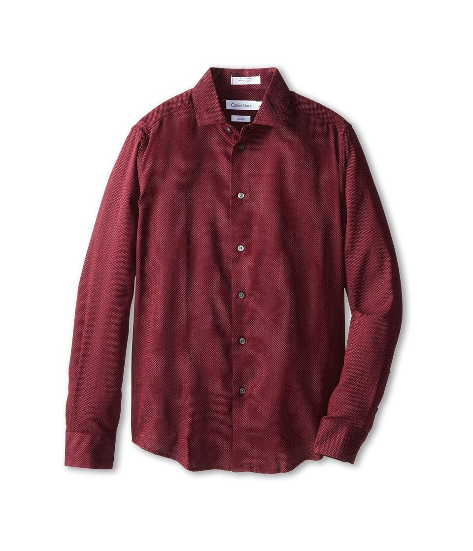 Calvin Klein Kids - L/S Micro Dot Dress Shirt (Big Kids) (Burgundy) Boy's Long Sleeve Button Up