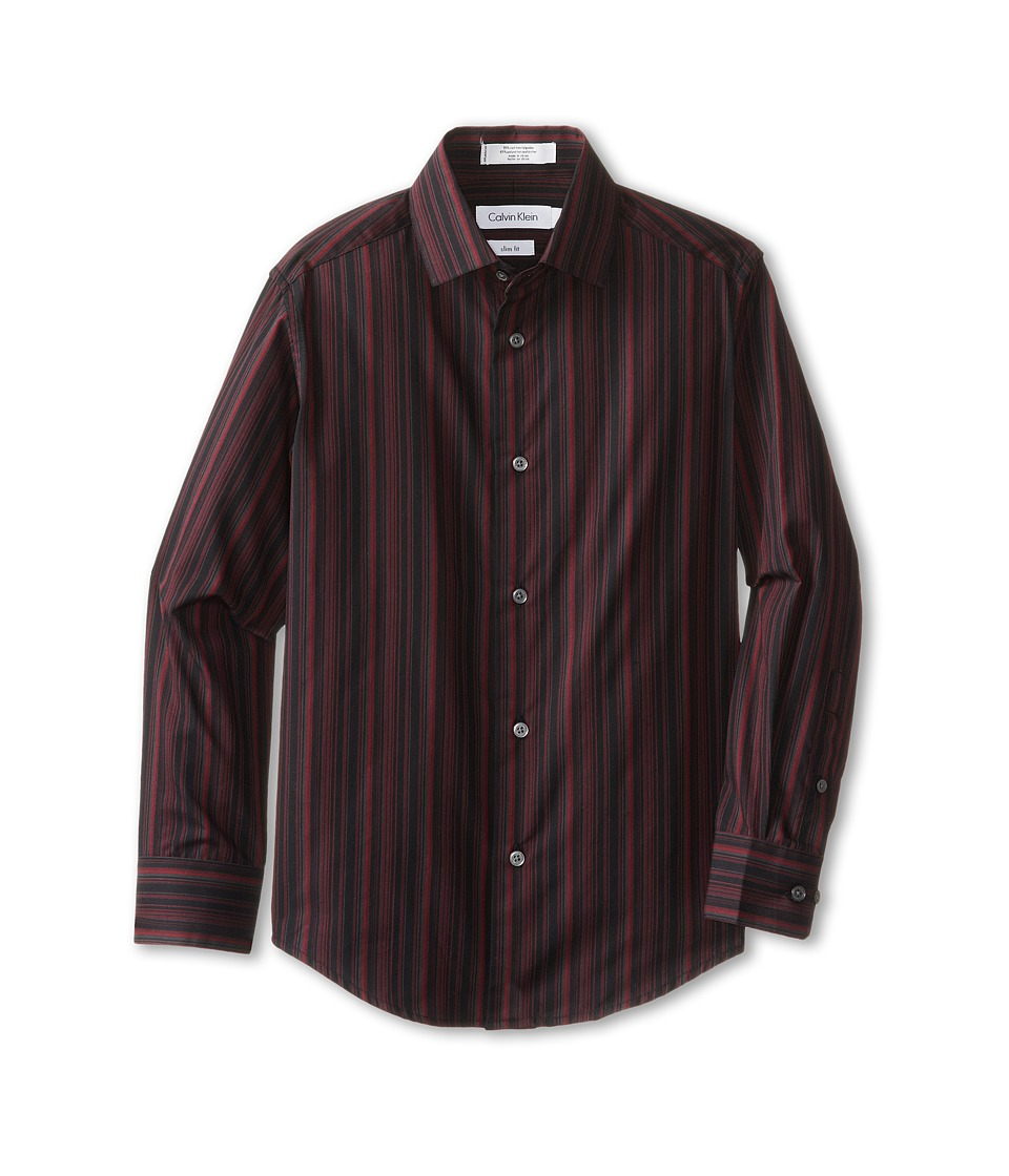 Calvin Klein Kids - L/S Roadmap Stripe Dress Shirt (Big Kids) (Black) Boy's Long Sleeve Button Up