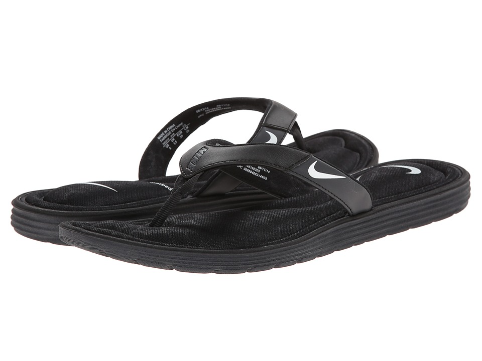 Nike - Solarsoft Comfort Thong (Black/Anthracite/White) Women